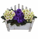 """10.5"""" African Violet Artificial Plant in Wooden Bench Planter"""