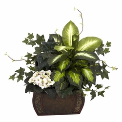 "20"" African Violet, Dieffenbachia & Ivy with Chest Silk Plant"