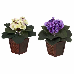 "10"" African Violet with Vase Silk Plant (Set of 2)"