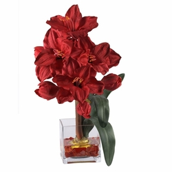 Amaryllis Liquid Illusion Silk Flower Arrangement