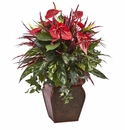 "28"" Artificial Anthurium Mixed Plant Arrangement with Planter"