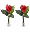 "14.5"" Artificial Anthurium with Bud Vase Silk Flower Arrangement (Set of 2)"