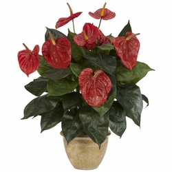 "22.5"" Artificial Anthurium with Ceramic Vase Silk Plant"