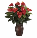 "30"" Artificial Anthurium Arrangement with Vase Silk Plant"
