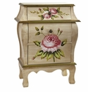 Antique Style Night Stand With Floral Art