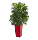 Areca Palm Artificial Plant in Red Planter -