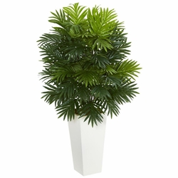 """40"""" Areca Palm Artificial Plant in White Tower Planter"""