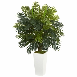 "45"" Areca Palm Artificial Plant in White Tower Planter"