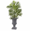 3.5' Artificial Areca Palm Tree with Gray Urn UV Resistant (Indoor/Outdoor) -