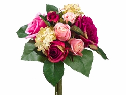 "Artificial 11.5"" Silk  Rose and Hydrangea Bouquet - Set of 6 (shown in beauty)"