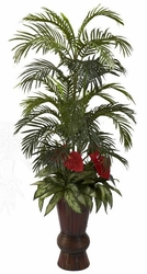 "58"" Areca Palm, Anthurium With Mixed Greenery in Bamboo Planter"