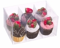 Artificial Assorted Cupcake with Strawberry Fruit (6 ea./6 acetate box)