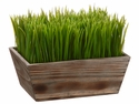 "8"" Artificial Grass Ledge Arrangement in Wood Planter-Set of 2"
