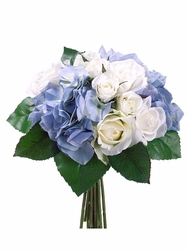 """11"""" Artificial Rose and Hydrangea Flower Bouquet  - Set of 6 (Shown in Blue)"""