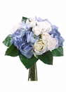 "11"" Artificial Rose and Hydrangea Flower Bouquet  - Set of 6 (Shown in Blue)"