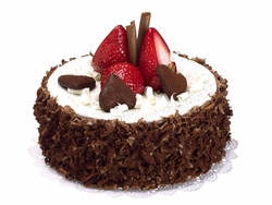 Artificial Soft Touch Chocolate Cake with Strawberry Fruit - Set of 6