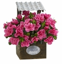 """14"""" Azalea Artificial Plant in Tin Roof Wood Planter"""