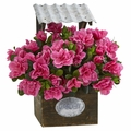 "14"" Azalea Artificial Plant in Tin Roof Wood Planter"