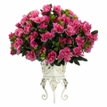 "19"" Artificial Azalea Silk Flower Arrangement in Metal Planter Silk Plant"