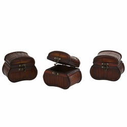 """4"""" Bamboo Chest Planters - Set of 3"""