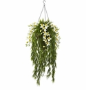 "40"" Artificial Bamboo & Dendrobium Orchid Hanging Bush in Basket - Cream"