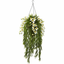 """40"""" Artificial Bamboo & Dendrobium Orchid Hanging Bush in Basket - Cream"""
