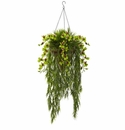 "40"" Artificial Bamboo & Dendrobium Orchid Hanging Bush in Basket - Green"