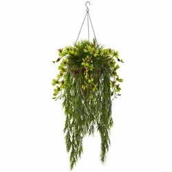 """40"""" Artificial Bamboo & Dendrobium Orchid Hanging Bush in Basket - Green"""