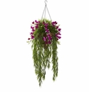 "40"" Artificial Bamboo & Dendrobium Orchid Hanging Bush in Basket - Purple"