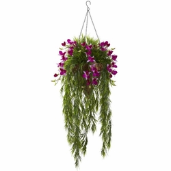 """40"""" Artificial Bamboo & Dendrobium Orchid Hanging Bush in Basket - Purple"""