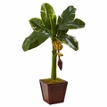 "32"" Artificial Banana Tree Floor Plant in Wooden Planter"
