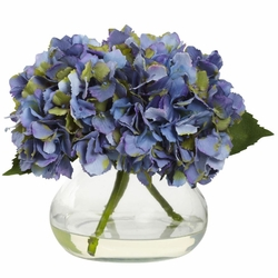 """8.5"""" Blooming Hydrangea in Vase - Blue Color"""