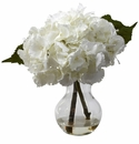 "13"" Blooming Hydrangea with Vase Silk Flower Arrangement"