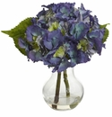 "13"" Artificial Flower Blooming Hydrangea with Vase Arrangement"
