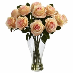 "18"" Silk Blooming Roses Arrangement in Vase - Peach Color"
