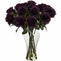 "18"" Artificial Silk Flowers Blooming Roses Arrangement with Vase"