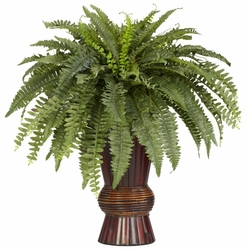 "33"" Artificial Boston Fern with Bamboo Vase Silk Plant"