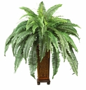 "33"" Artificial Boston Fern with Decorative Wood Vase Silk Plant"