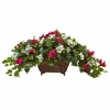 "17"" Silk Bougainvillea Flower Arrangement in Metal Planter - Beauty White"