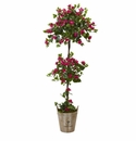 5.5' Silk Bougainvillea Double Ball Topiary Tree with European Barrel Planter -