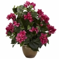 "19"" Artificial Bougainvillea Silk Flower Arrangement with Ceramic Vase"