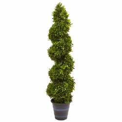 4' Artificial Boxwood Spiral Topiary with Planter (Indoor/Outdoor) -