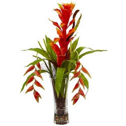"30"" Artificial Bromeliad and Heliconia Tropical Flower Arrangement in Vase"