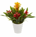 Bromeliad Artificial Plant in White  Vase - Yellow Red