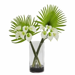 "27"" Calla Lily Flower and Fan Palm Artificial Arrangement in Cylinder Glass"