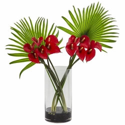 """27"""" Calla Lily Flower and Fan Palm Artificial Arrangement in Cylinder Glass"""