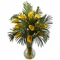 "27"" Artificial Calla Lily & Tropical Areca Palm Flower Arrangement  - Yellow"