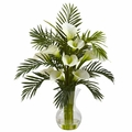 "27"" Artificial Calla Lily & Tropical Areca Palm Flower Arrangement - Cream"