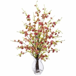 "26"" Artificial Cherry Blossom Flower Arrangement in Glass Vase - Pink"