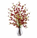 "26"" Artificial Cherry Blossom Flower Arrangement in Glass Vase  - Red"